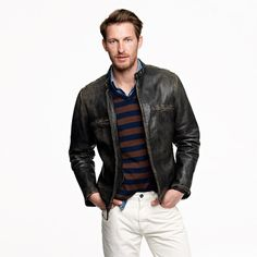 Stockton racer jacket - leather - Men's outerwear - J.Crew (I bought my husband this jacket last year. It's really well made and he looks Sexy when he wears it! Well he's sexy all the time! Cargo Jacket Mens, Men's Leather Jacket, Leather Men, Bomber Jacket, Leather Jackets, Black Leather, Great Mens Fashion, Men's Fashion, Fashion Bags