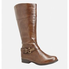 Avenue Gerry Harness Riding Boot ($36) ❤ liked on Polyvore featuring shoes, boots, cognac, plus size, harness boots, cognac tall boots, cognac boots, wide width boots and stretch boots