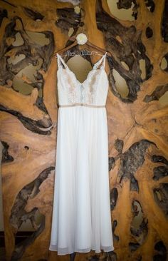 A&bee wedding dress. Danielle and Jason's Outdoor Fall Wedding in Crested Butte, Colorado