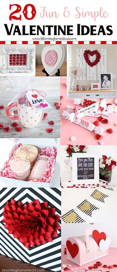 20 Simple and Fun Valentines Ideas including gift ideas, crafts, printables, and home decor!