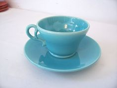 FRANCISCAN GLADDING MCBEAN EL PATIO TURQUOISE GLOSSY CUP & SAUCER