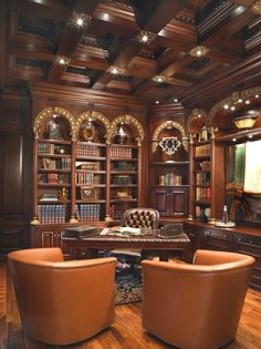 LOVE THE CEILING! interiorstyledesign: Traditional library/study combination with rich mahogany paneling on the walls and ceilings, and gilded accents (via Venetian Office - traditional - home office - phoenix - by VM Concept Interior Design Studio) Home Office Design, House Design, Office Decor, Office Designs, Office Ideas, Library Design, Study Design, Design Studio, Office Art