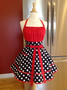 Retro Flirty Chic Apron in Black White Polka Dots With Red Accents Sexy Women's Pinup Apron for Christmas or Bridal Gift - Ready to Ship by Charmingapron on Etsy Retro Apron, Aprons Vintage, Polka Dot Fabric, Polka Dots, Knot Dress, Wrap Dress, Apron Designs, Dress Patterns, Apron Patterns
