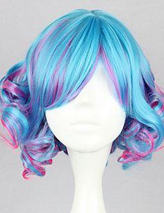 Lolita+Wigs+Punk+Lolita+Color+Gradient+Short+/+Curly+Blue+/+Fuschia+Lolita+Wig+35+CM+Cosplay+Wigs+Patchwork+Wig+For+Women+–+EUR+€+28.80