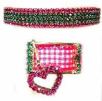 "3/4"" wide pink and emerald rhinestone Diva dog collar with hot pink heart pendant"