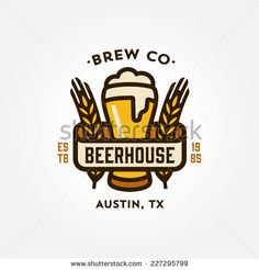 Original vintage retro line art badge logo design template for beer house, bar, pub, brewing company, brewery, tavern, taproom, alehouse, beerhouse, dramshop, restaurant - stock vector