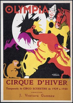 Programa de mà del circ Olympia. 1929-1930 (Biblioteca de Catalunya) Olympia, Ephemera, Comic Books, Comics, Cover, Movie Posters, Art, Equestrian, Seasons