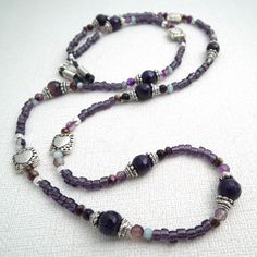 Purple Agate Beaded Eyeglass Chain - Silver Heart Beads - Reading Glasses Holder for Seamstress, Beader, Knitter Jewelry Knots, Beaded Jewelry, Beaded Necklace, Beaded Bracelets, Gold And Silver Bracelets, Beaded Lanyards, Purple Agate, Eyeglass Holder, Agate Beads