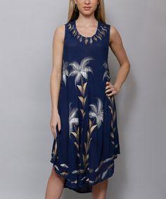 Look at this #zulilyfind! Indigo Blue & Gold Shift Dress #zulilyfinds