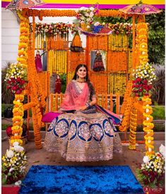 Let's jump to the list of off-beat Mehndi ceremony decoration ideas, that will lit up your decor in the best way, unique mehndi decor ideas Desi Wedding Decor, Luxury Wedding Decor, Wedding Stage Decorations, Wedding Mandap, Wedding Ideas, Mehndi Ceremony, Haldi Ceremony, Outdoor Indian Wedding, Outdoor Weddings