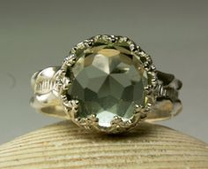 Checkout this amazing product Sterling Silver Green Amethyst Ring, Faceted Cabochon, Natural Stone, Custom Jewelry, made to order in your size at Shopintoit