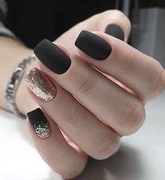 Matte Black Nails, Coffin Nails Matte, Black Nail Art, Black Nail Polish, Acrylic Nails, Stiletto Nails, Pointed Nails, Gold Nail, Matte Pink