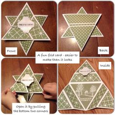 Origami Triangle Star Card stamped with Stampin' Up! White Christmas stamp set. Learned how to make it from this post http://stampladee.com/origami-triangle-star-card-with-deb-valder