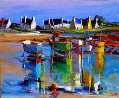 For Love of Art: Mediterranean art in the paintings of the French artist Eric Le Pape. Mediterranean Paintings, Mediterranean Art, Great Paintings, Landscape Paintings, Acrylic Painting Flowers, Boat Art, Art Sculpture, French Artists, Anime Comics