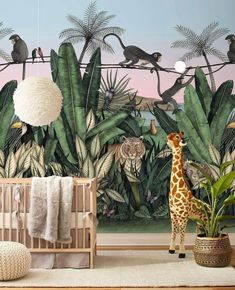 Bengal Sunrise Mural with Tigers and Monkeys inspired by The Jungle Book Hygge West slaapkamer inspiratie bedroom ideas kids bedroom kinder slaapkamer inspiratie kinder slaapkamer ideeen Jungle Bedroom, Baby Bedroom, Baby Boy Rooms, Safari Nursery, Nursery Decor, Jungle Baby Room, Jungle Book Nursery, Western Nursery, Safari Theme