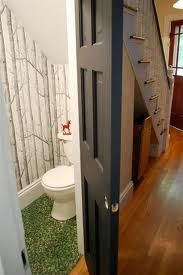 Bathroom under the stairs -- this outdoors theme is the kind of hilarious surprise I enjoy, and would work in Harriet's house too! Bathroom Under Stairs, Home, Small Bathroom, Stairs Design, Bathroom Design, Toilet Closet, Stairs, Bathroom Redo, Downstairs Toilet
