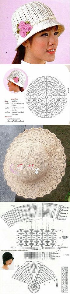 Летние шляпки (из интернета). / Вязание крючком / Женская одежда крючком. Схемы.