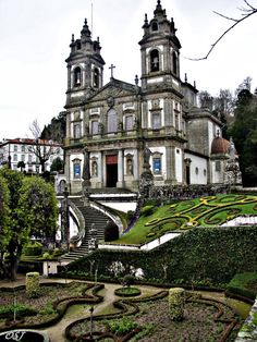 Bom Jesus de Braga church and garden, on the top of the mountain Braga, Portugal.
