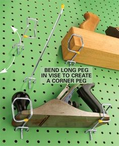 "Another, ""why didn't I think of that?"" moment!  Bend an 8-in.-long pegboard holder into a corner shape by holding it in a vise and pounding it with a hammer to make the series of right angles. Make one corner to hold the left side of the tool and another to hold the right. Now just hold the tool up to the pegboard and insert the corner peg so it clasps the tool's corner."