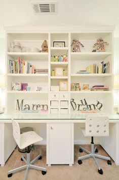Matching Kids Desks + Built In Shelves with Childrens Books and Toys | Turnstyle Design