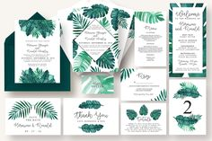 Tropical Leaves Invitation Suite https://creativemarket.com/knotteddesign/996480-Tropical-Leaves-Invitation-Suite?u=inspirationfeed
