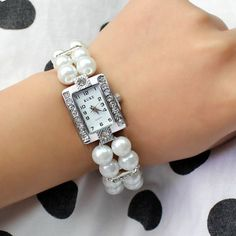 #Women #Fashion Faux #Pearl #Crystal #Rhinestone #Bracelet #Wristwatch Bangle Watch New Price $19.95 . Http://sherkart.com.au