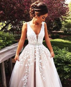 Long Beige/Champagne Ball Gown V-Neck Sleeveless Zipper Appliques Prom Dresses 2019 Ball Gown Prom Dress, Prom Dress V-neck, Champagne Prom Dress, V Neck Prom Dress, Sleeveless Prom Dress Prom Dresses 2019 V Neck Prom Dresses, Ball Gowns Prom, Long Wedding Dresses, Ball Dresses, Wedding Gowns, Evening Dresses, Bridesmaid Dresses, Dress Prom, Dress Lace