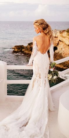 long sleeves low back lace wedding dresses chard photo