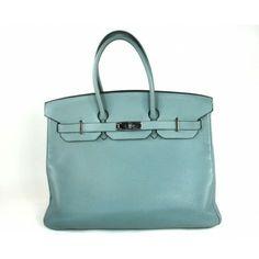 Hermès Blue Ciel Clemence Leather 35cm Birkin Bag with Palladium Hardware