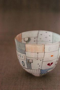 Cafe Inevitable — Sake Cup by Mikiko Nakano glassware Ceramic Decor, Ceramic Clay, Ceramic Painting, Ceramic Bowls, Spray Painting, Pottery Bowls, Ceramic Pottery, Pottery Art, Sculptures Céramiques