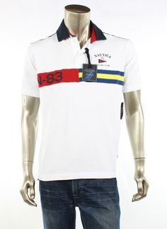 NAUTICA NEW White Shirt Polo Rugby Short Sleeve Graphic Top Mens Size Small