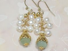 2 Pearls Serpentine 14K Gold Filled dangle earrings, green, white, cluster