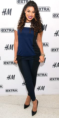 Last Night's Look: Love It or Leave It? Vote Now! | JORDIN SPARKS | wearing a color-blocked top and ankle-grazing slacks, plus black pointy-toe pumps, for a visit to Extra's N.Y.C. studios at H&M.