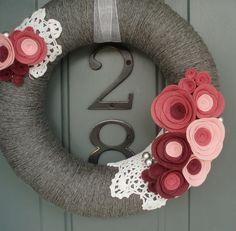 Yarn Wreath Felt Handmade Door Decoration Sea of by ItzFitz