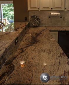 Shivikashi Granite Countertops - I love this darker color granite countertop. Knock out wall with spindles and extend and make short like bar Kitchen Redo, Kitchen And Bath, New Kitchen, Kitchen Remodel, Kitchen Design, Kitchen Ideas, Types Of Countertops, Kitchen Countertops, Kitchen Backsplash