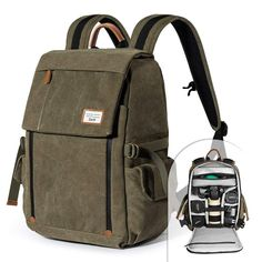 f20a9df337 Amazon.com   Camera Backpack Zecti Waterproof Canvas Professional Camera Bag  for Laptop and Other