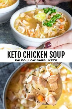 *NEWThis easy low carb chicken soup recipes here to warm you from the inside out! Full of keto veggies, chicken, delicious herbs and takes less than 30 minutes to throw together! #lowcarbchickensoup #ketochickensoup Keto Foods, Ketogenic Recipes, Low Carb Recipes, Diet Recipes, Healthy Recipes, Keto Snacks, Snacks List, Snacks Ideas, Loaf Recipes