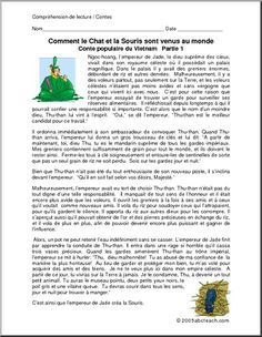 French Reading ComprehensionPrintable Worksheets I abcteach provides over worksheets page 1 French Class, French Lessons, Student Teacher, New Teachers, French Fairy Tales, Venus, Word Puzzles, Teaching French, Lessons For Kids