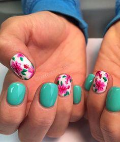 Hawaii nails, floral nails, tropical nails, nails, gel mani, teal nails, nail art, nail design