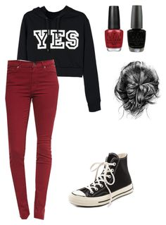 """""""Yes"""" by nafisashb ❤ liked on Polyvore featuring Converse, 7 For All Mankind and OPI"""