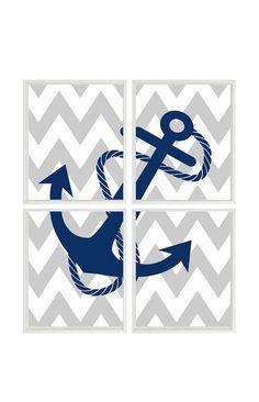 Nautical Nursery Anchor Art Print Set -  Navy Blue Gray Light White Chevron Decor - Pirate Ocean Sea Wall Art Children Playroom Set 4 8x10 on Etsy, $50.00