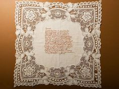 This stitched loveletter is from the hand of British lettering artist Rosalind Wyatt. She stitched a Sanskrit / Indian love poem onto a lacy linen cloth.