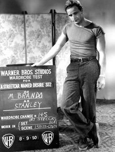 Love the old school wardrobe boards... Marlon Brando ~ A Streetcar Named Desire ~ 8/9/1950