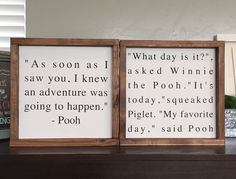 Set of 2 Pooh quote framed wood signs home decor As soon as