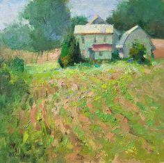 Soybean Swan Song by Debra Joyce Dawson, Oil, 6 x 6 Dandelion Oil, Tower Of Power, Pomegranate Oil, Swan Song, Pond, Oil On Canvas, Ohio, Sunset, Artwork