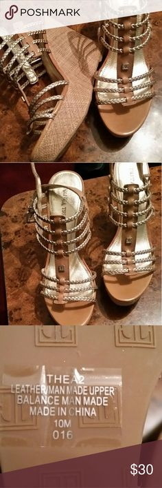 Ivanka.Trump wedge Sandals Brand knew still in box since I turned 50 2yrs ago my body says 3 inch is ur max.lol these are 4 with a inch 1/2 front platform tan color lightly trim in gold Ivanka Trump Shoes Wedges
