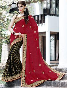 Elegant Black and Red #Saree