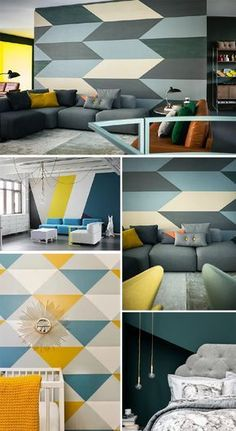 Wall Painting Ideas Here, we've gathered a collection of ideas as well as tips on how to spruce up your walls with paint, wallpaper, and more. Obtain decorative wall painting ideas and also innovative layout ideas to colour your interior home walls. Bedroom Wall Designs, Bedroom Murals, Living Room Designs, Bedroom Decor, Interior Walls, Interior Design Living Room, Living Room Decor, Dining Room, Wall Painting Decor