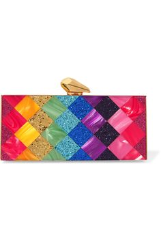 Multicolored glittered Perspex Push clasp fastening at top Designer color: Rainbow  Imported