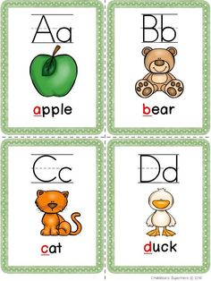 This Alphabet Flashcards pack has 2 different sets of full color flashcards for all 26 letters of the alphabet. Just print on cardstock, laminate and cut out. There are 4 letters to a page. 26 flashcards with the letter and a picture 26 flashcards- with Letter Flashcards, Color Flashcards, Flashcards For Kids, English Worksheets For Kids, English Lessons For Kids, Alphabet Activities, Kindergarten Activities, Picture Letters, 26 Letters